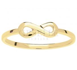 Najmodniejszy, ręcznie wykonany pierścionek Infinity z kolekcji NIESKOŃCZONOŚĆ - żółte złoto próby 585