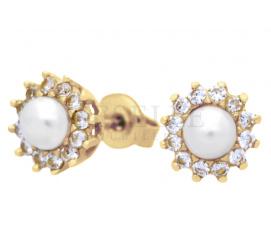 Ponadczasowa para złotych kolczyków z perłą i cyrkoniami zapinane na sztyfty