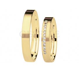 Delikatna para obrączek ślubnych w nowoczesnym stylu z brylantami - kolekcja You&Me