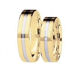 Ponadczasowy duet obrączek z lśniącą wstęgą z białego złota i wiecznym brylantem - kolekcja You&Me