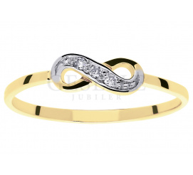 Najmodniejszy pierścionek z symbolem nieskończoności i trzema brylantami o łącznej masie 0,03 ct
