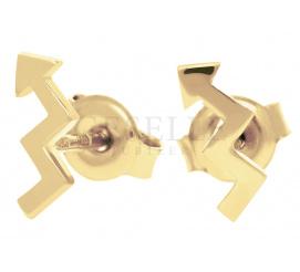 Modne złote kolczyki próby 585 o kształcie błyskawic