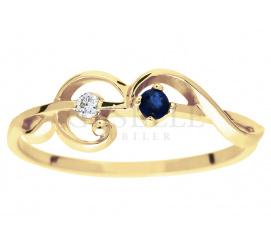 Delikatny i subtelny pierścionek zaręczynowy z szafirem i brylantem 0,02 ct - secesyjny motyw
