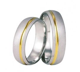 Dwukolorowa para obrączek ślubnych z białego i żółtego złota próby 585 z lśniącą linią