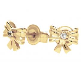 Słodkie kolczyki z żółtego złota próby 585 w kształcie kokardek