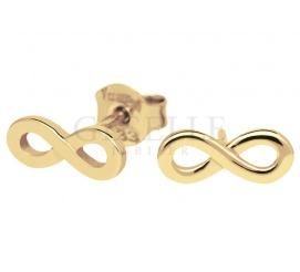 Modne kolczyki nieskończoność z żółtego złota próby 585 - sztyfty