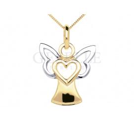 Słodka zawieszka z żółtego złota w kształcie uroczego aniołka z serduszkiem oraz rodowanymi skrzydełkami
