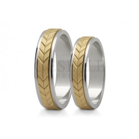 Eleganckie, dwukolorowe obrączki ślubne z pięknym, romantycznym warkoczem z żółtego złota