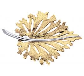 Modny dodatek - elegancka broszka z 14-karatowego złota w kształcie listka