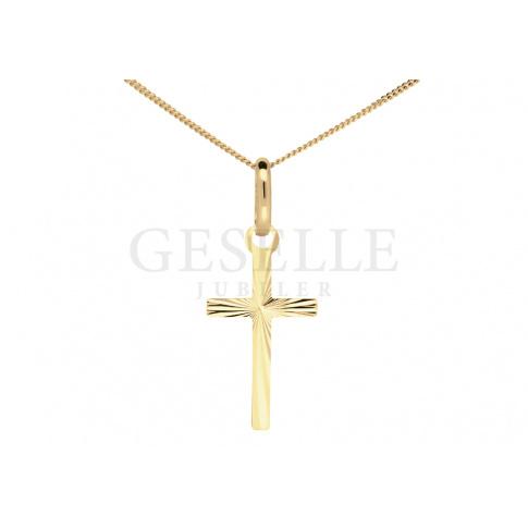 Delikatny krzyżyk z 14-karatowego złota - diamentowany