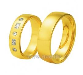 Lśniąca para obrączek ślubnych z 14-karatowego złota - pięć cyrkonii Swarovski ELEMENTS