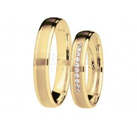 Elegancki komplet nowoczesnych obrączek ślubnych z rzędem lśniących brylantów