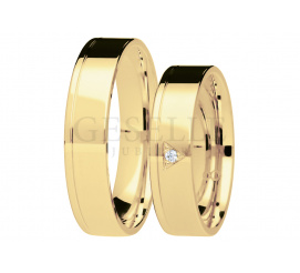 Eleganckie, klasyczne obrączki ślubne z brylantem w trójkątnej oprawie - kolekcja You&Me