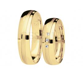 Komplet klasycznych obrączek z żółtego złota z matową linią i brylantami - You&Me