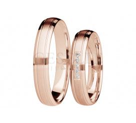 Para wąskich obrączek ślubnych z brylantami z różowego złota 14K