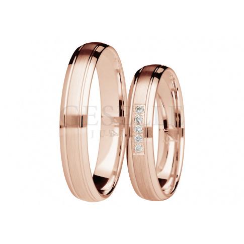 Para wąskich obrączek ślubnych z brylantami z różowego złota