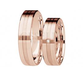 Niebanalna para obrączek ślubnych z różowego złota 14K z brylantem