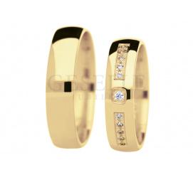Elegancki komplet obrączek ślubnych z żółtego złota z cyrkoniami Swarovski Elements - kolekcja True Love