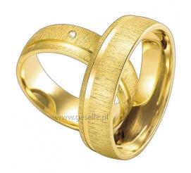 Ciekawe obrączki z subtelnym matem i lśniącą linią przy boku - żółte złoto 14K, lśniący kamień, delikatny design