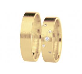 Niebanalna para złotych obrączek ślubnych z siatką lśniących cyrkonii
