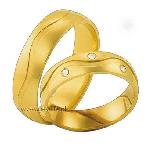 Popularny komplet obrączek ślubnych z żółtego złota z falującą linią i lśniącymi cyrkoniami Swarovski ELEMENTS