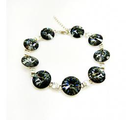 Elegancka i połyskująca bransoletka z kryształami Swarovski Elements w kolorze Silver Night