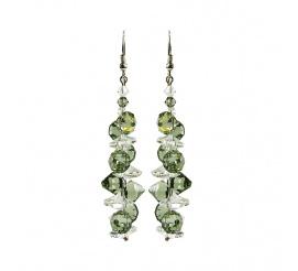 Komplet srebrnych kolczyków z kryształami Swarovski ELEMENTS w kolorze Black Diamond oraz Crystal