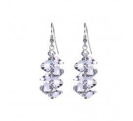 Komplet wyjątkowo eleganckich, srebrnych kolczyków z kryształami Swarovski ELEMENTS
