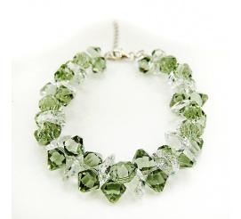 Bransoletka z kryształami Swarovski Elements w odcieniu Khaki i Crystal