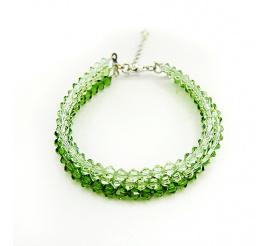 Casualowa bransoletka z kryształami Swarovski Elements w wyjątkowych odcieniach zieleni Fern Green, Peridot oraz Chrysolite