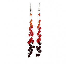 Wyjątkowa para kolczyków wykonana z kryształów Swarovski Elements w odcieniach czerwieni