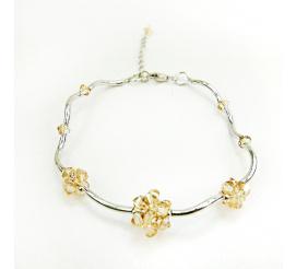 Subtelna srebrna bransoletka z kryształami Swarovski Elements w zjawiskowym odcieniu Crystal Golden Shadow