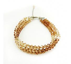 Olśniewająca srebrna bransoletka z kryształami Swarovski Elements w odcieniach ciepłego złota