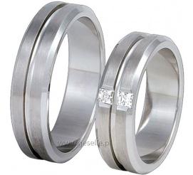 Eleganckie obrączki ślubne z białego kruszcu pr. 585 z kolekcji Exclusive