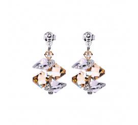 Subtelny komplet kolczyków wykonany z kryształów Swarovski Elements w odcieniach złota - kolekcja Casual