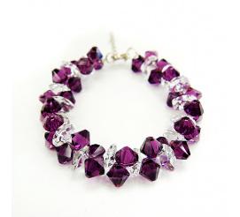 Przepiękna bransoletka z kryształami Swarovski Elements w kolorze Amethyst i Crystal z kolekcji Casual