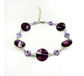 Olśniewająca bransoletka z kryształami Swarovski Elements w kolorze Amethyst i Violet  z kolekcji Casual