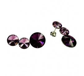 Olśniewające kolczyki ze srebra próby 925 z kryształami Swarovski Elements w kolorze Amethyst i Light Amethyst