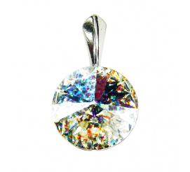 Lśniąca, okrągła zawieszka z kryształem Swarovski Elements o wyjątkowej barwie Crystal White Patina