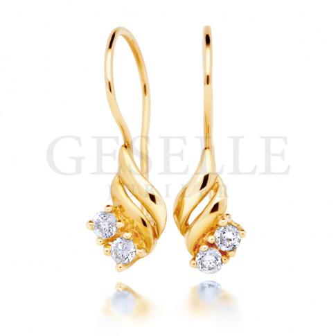 Elegancka para złotych kolczyków próby 585 z białymi cyrkoniami