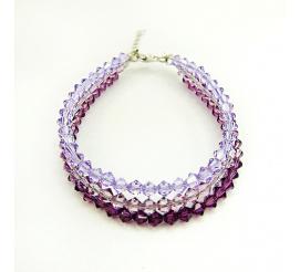 Olśniewająca srebrna bransoletka z kryształami Swarovski Elements w odcieniach fioletu