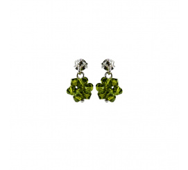 Uroczy duet kolczyków z kryształami Swarovski ELEMENTS w odcieniu Olivine  z kolekcji Casual