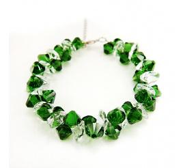 Wyjątkowa bransoletka z kryształami Swarovski Elements o soczystej barwie Dark Moss Green i Crystal z kolekcji Casual