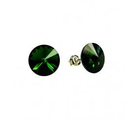 Subtelna para kolczyków z kryształami Swarovski ELEMENTS w odcieniu Dark Moss Green   z kolekcji Casual