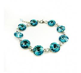 Wyjątkowa bransoletka z kryształami Swarovski Elements o intensywnej barwie Light Turquoise   z kolekcji Casual
