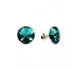 Lśniąca para kolczyków z kryształami Swarovski ELEMENTS w odcieniu  Light Turquoise  z kolekcji Casual