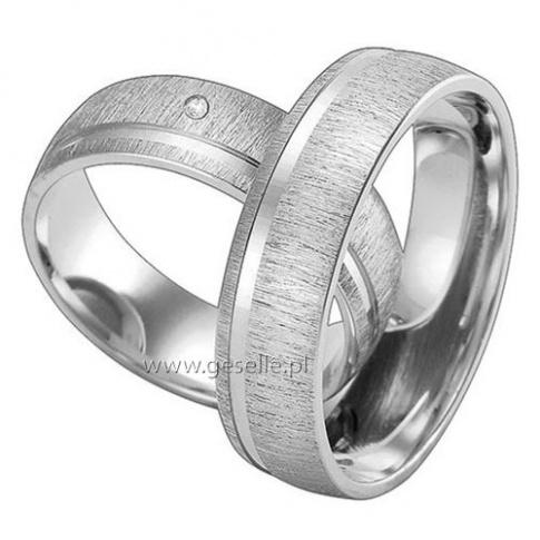 Pokryte matem złote obrączki ślubne z lśniącą linią i kamieniem - cyrkonią Swarovski ELEMENTS lub brylantem