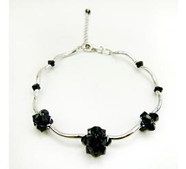 Elegancka srebrna bransoletka z kryształami Swarovski Elements w zjawiskowym odcieniu Jet