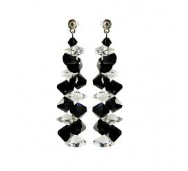 Pełna blasku para kolczyków - połączenie srebra i kryształów Swarovski ELEMENTS w odcieniu Jet i Crystal