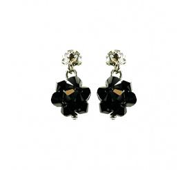 Wyjątkowy duet kolczyków z kryształami Swarovski ELEMENTS w odcieniu Jet z kolekcji Casual
